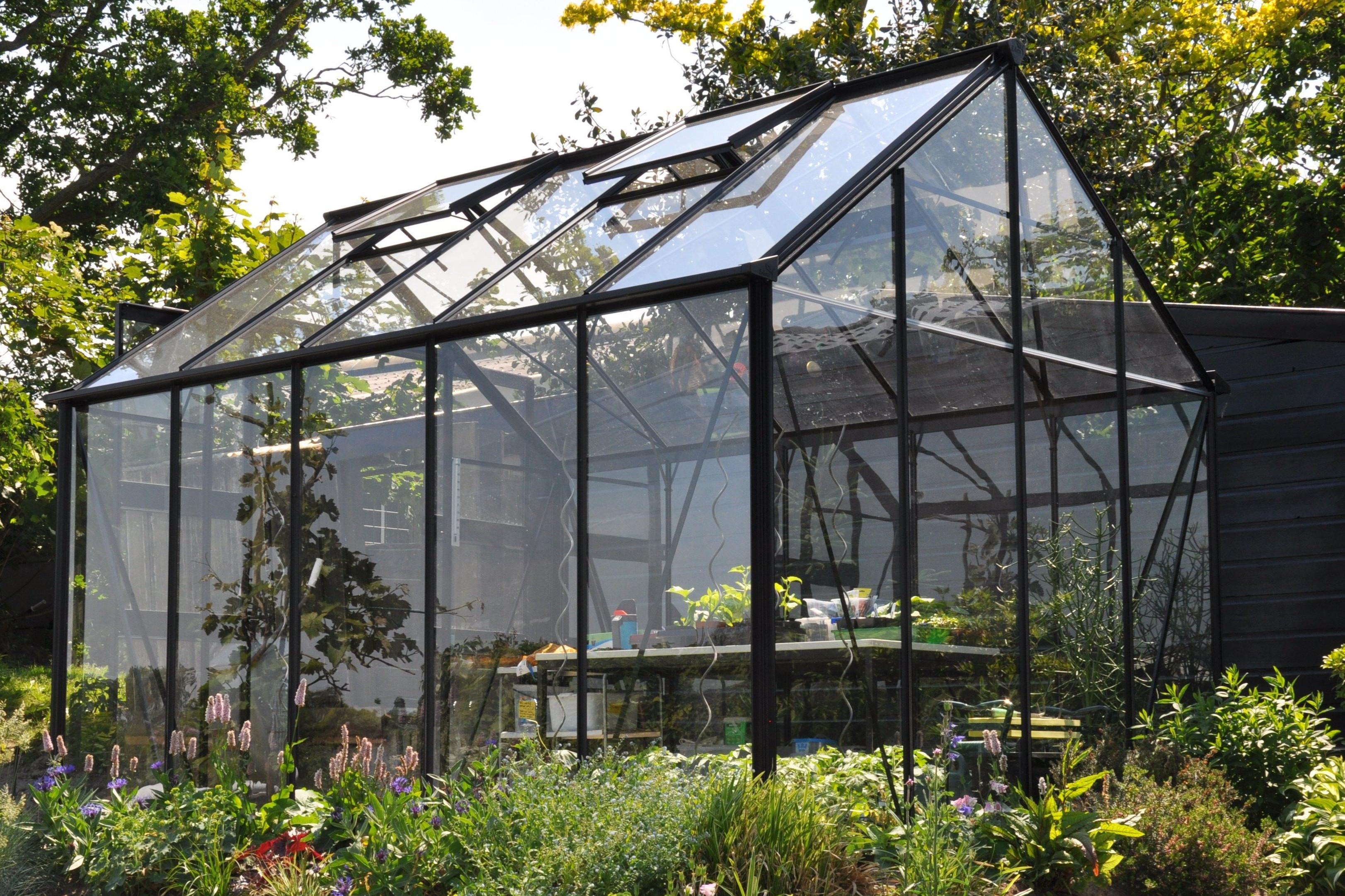 Tuinkas veiligheidsglas zwart schuifdeuren